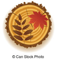 Wooden Cut And Autumn Leaves   Vector Wooden Cut And Autumn