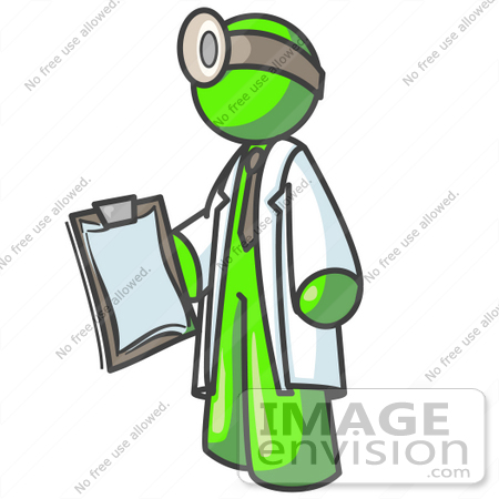 36619 Clip Art Graphic Of A Lime Green Guy Character Doctor Wearing A
