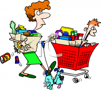 Animal Clipart Net Clip Art Picture Of A Mom Pushing A Full Grocery