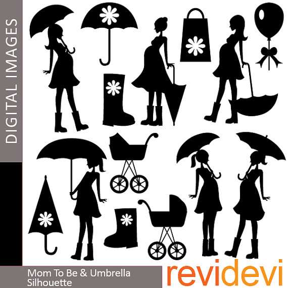 Clipart   Mom To Be And Umbrella Silhouette 07347   Digital Clip Art