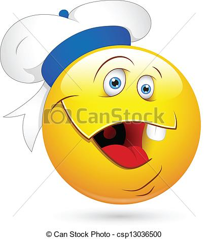Design Art Of Funny Sailor Smiley Laughing Face Vector Illustration