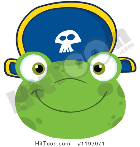 Frog Clipart  1193071  Smiling Happy Frog Face With A Pirate Hat By