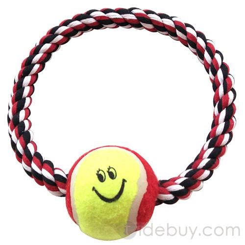 Home    Non Toxic Circle Shape Cotton Rope Chew Toy With Ball For Dogs