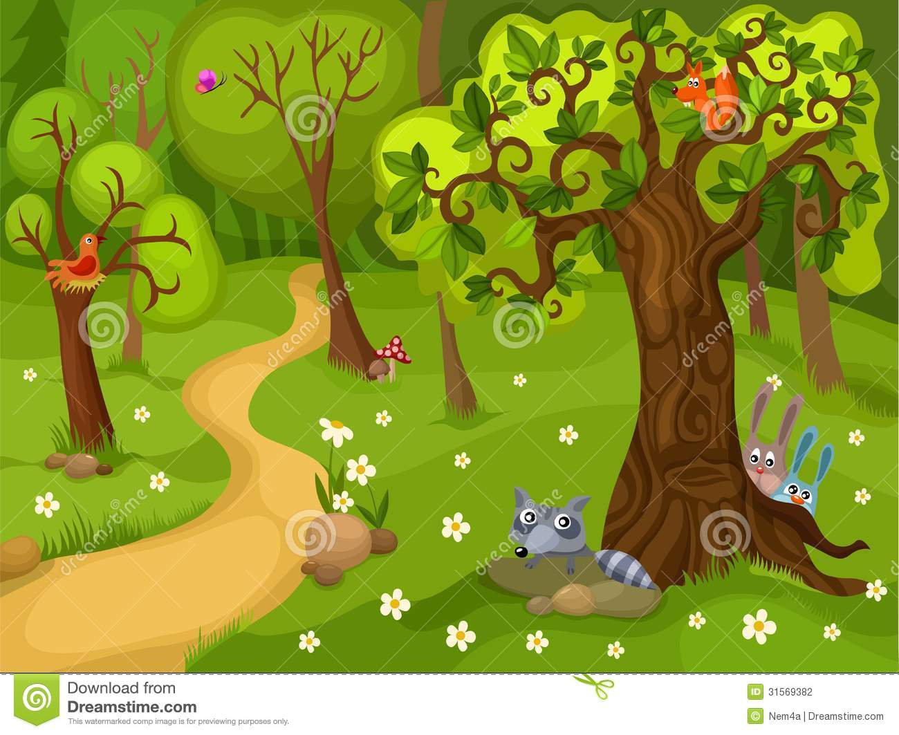 Illustration Of A Forest Background Stock Photography   Image