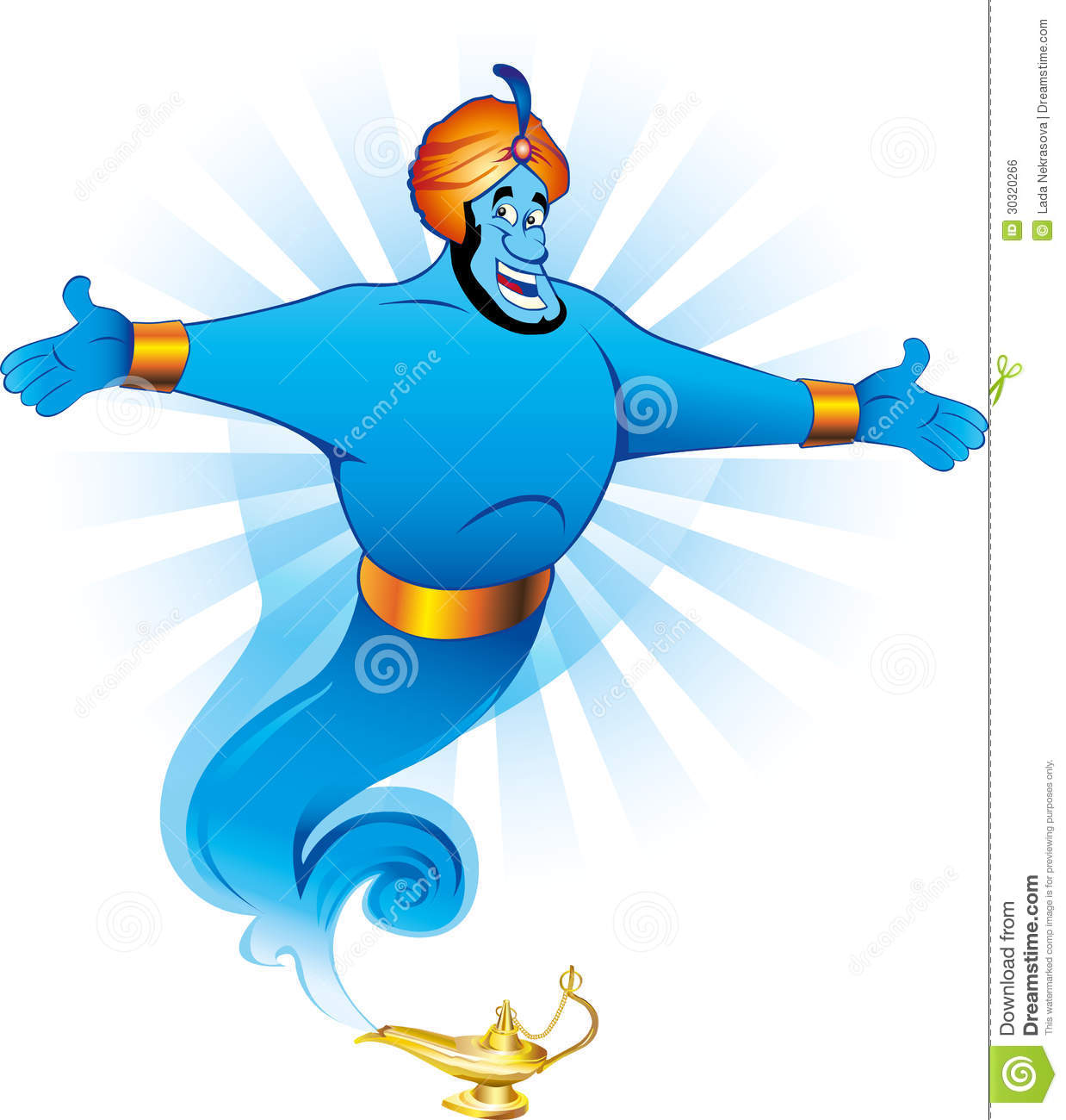 Illustration Of Magic Genie Appear From Magic Lamp