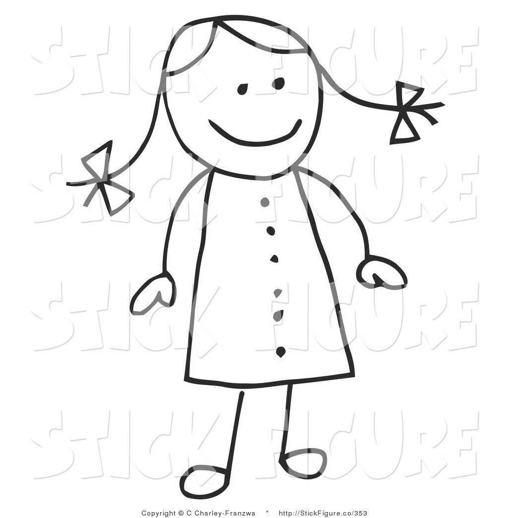 Larger Preview  Clip Art Of A Cute Stick Figure Girl In A Dress Her
