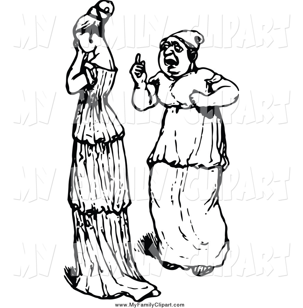 Larger Preview  Clip Art Of A Vintage Black And White Woman Talking To