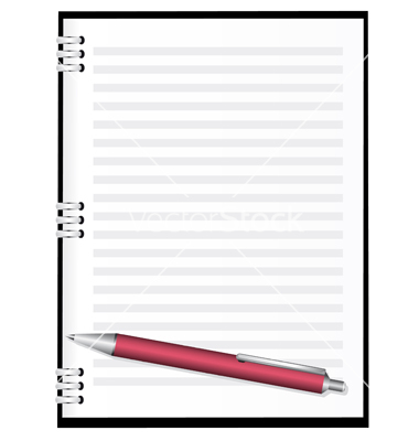 Notepad And Pen Clipart Notebook With Red Pen Vector