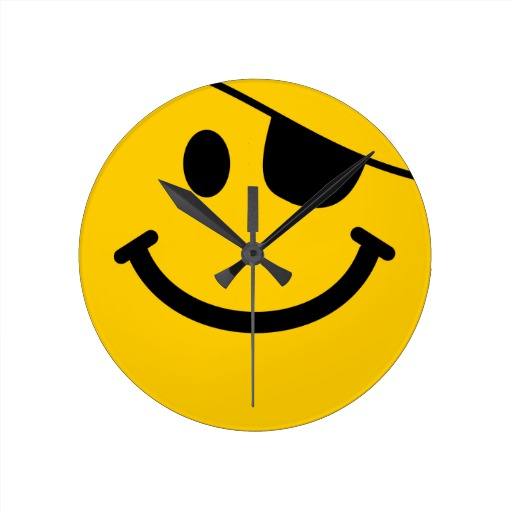 Pirate Emoticon Http   Www Zazzle Com Pirate Smiley Face Wall Clock