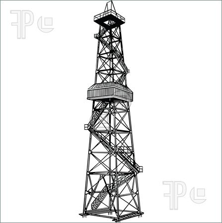Rig For Exploration And Drilling Wells For Oil Production  Vector
