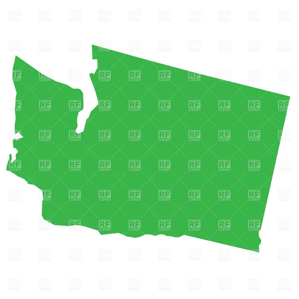 Washington State Native Plants: Washington State Outline Clipart
