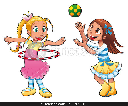 Girls Playing Clipart - Clipart Kid