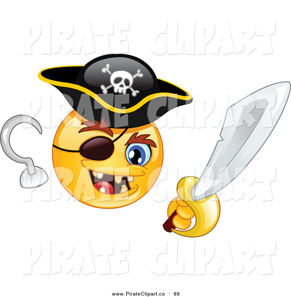 Vector Clip Art Of A Happy Yellow Smiley Face Pirate With A Hook Hand