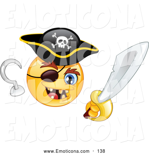 Vector Illustration Of A Cute Yellow Smiley Face Pirate With A Hook