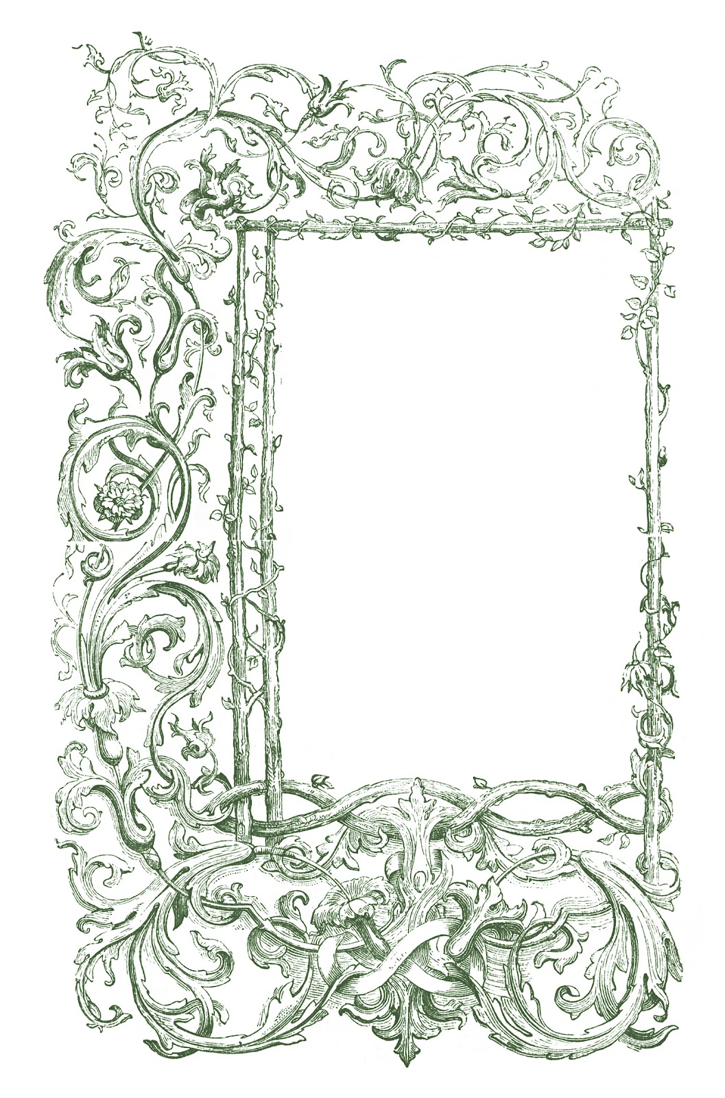 Vintage Clip Art   Faux Bois Frames With Scrolls   The Graphics Fairy