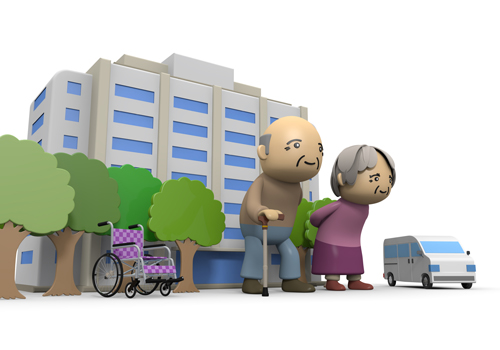 Clip Art of Elderly and Nursing Home