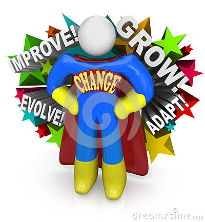 Change Superhero Helps You Adapt Succeed Life Word Across His Chest