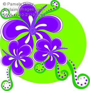 Clip Art Image Of A Tropical Hibiscus Flower Icon