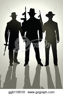 Clip Art   Silhouette Illustration Of Gangsters   Stock Illustration