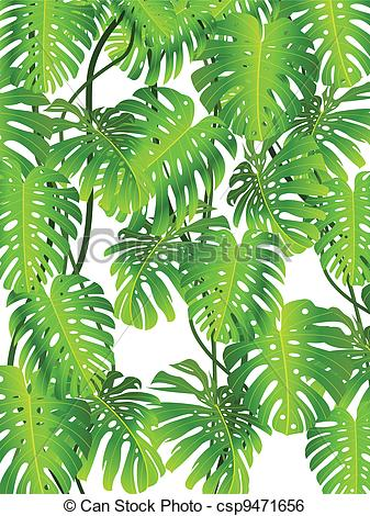 Clip Art Vector Of Tropical Plant Background   Vector Illustration Of
