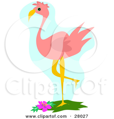 Clipart Illustration Of A Pink Flamingo Bird Balancing On One Leg Near
