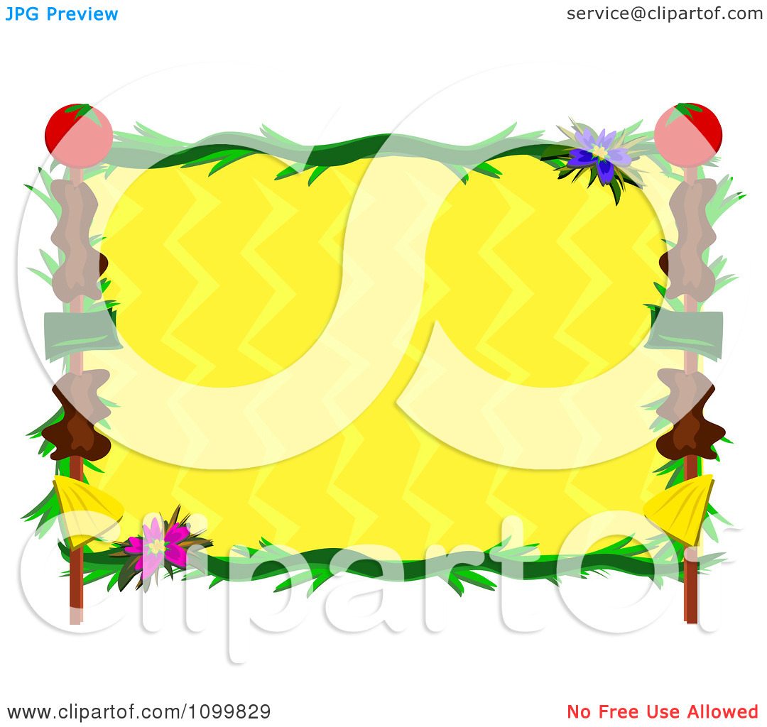 Clipart Shish Kebob Frrame And Tropical Plants Around Yellow Zig Zags