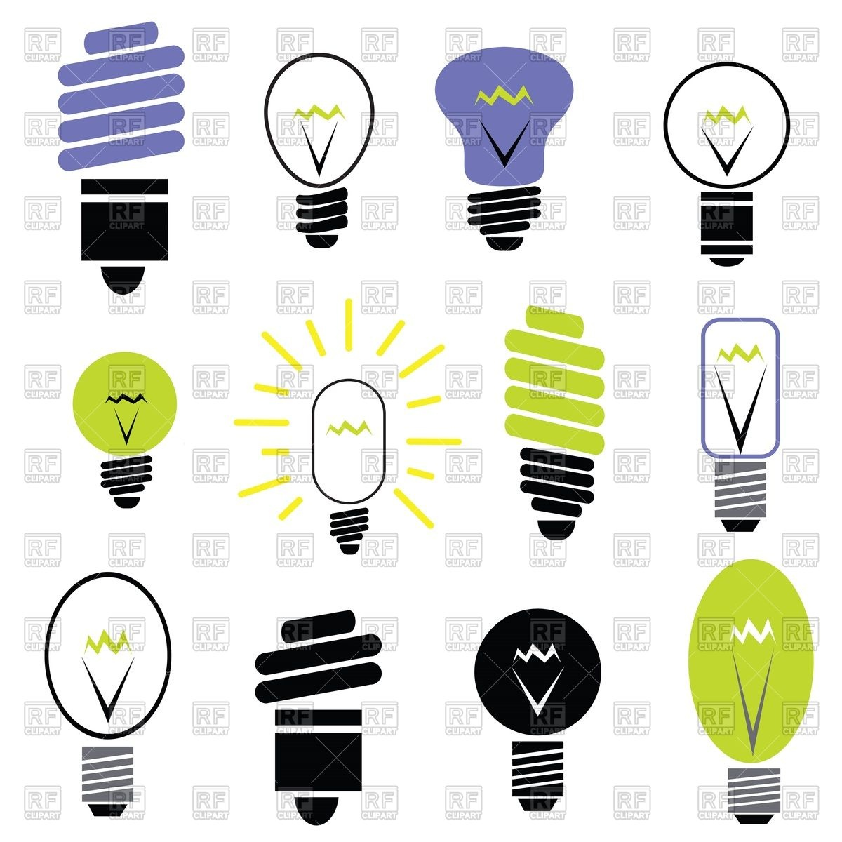 Energy Saving And Filament Light Bulbs Icons 39586 Icons And Emblems