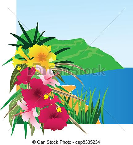 Vector   Background With Tropical Plants   Stock Illustration Royalty