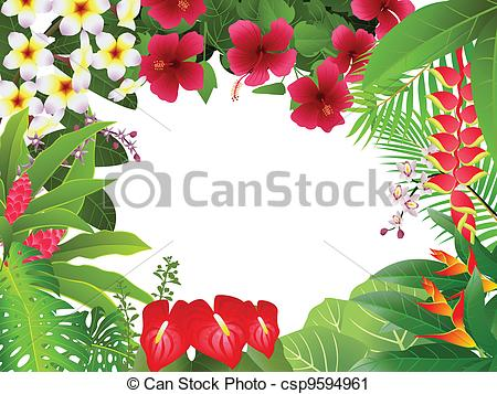 Vector Clip Art Of Tropical Plant Background   Vector Illustration Of