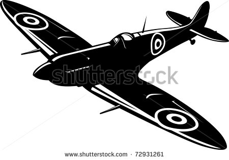 Vector Download   Vector Illustration Of A Fighter Spitfire Black And