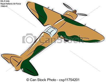 Vector   Pzl P 24g Ww2 Combat Plane   Stock Illustration Royalty Free