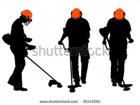 With The Lawn Mower  Silhouette On White Background   Stock Vector