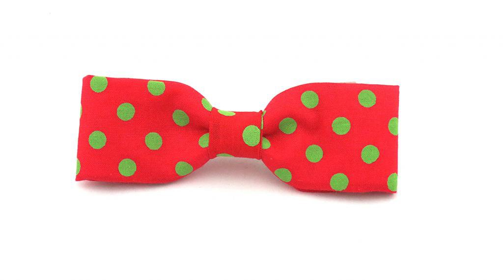 Boys Skinny Thin Red Green Polka Dot Cotton Clip On Bow Tie