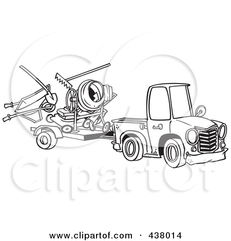 Cartoon Black And White Outline Design Of A Truck Pulling A Trailer
