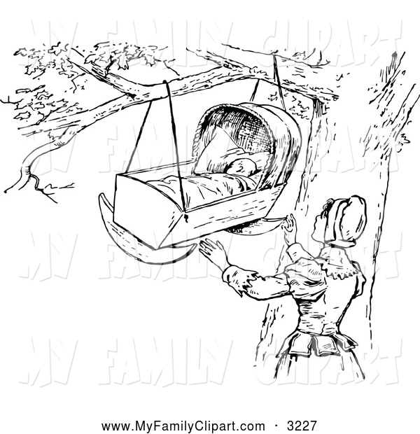 Clip Art Of A Black And White Mother And Baby Crib In A Tree By Prawny