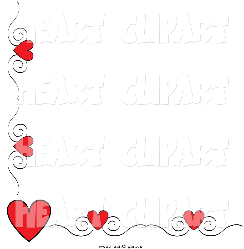 Clip Art Of A Red Heart And Swirl Corner Border By Pams Clipart 1356