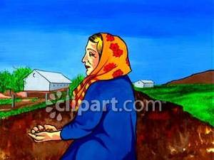 Clipart Image Of A Woman In A Yellow Scarf Sowing Seeds On A Farm