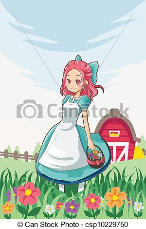 Farm Girl   Stock Illustration Royalty Free Illustrations Stock Clip