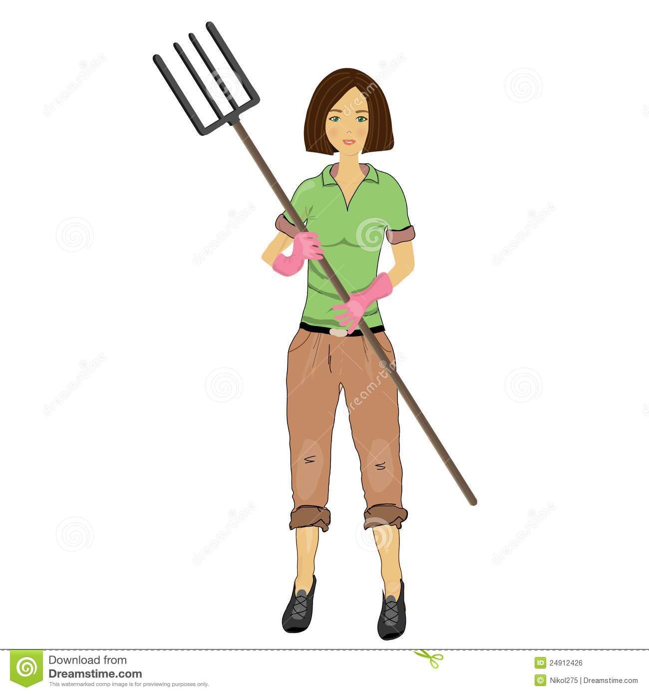 Female Farmer Clip Art Woman Farmer With A Pitchfork