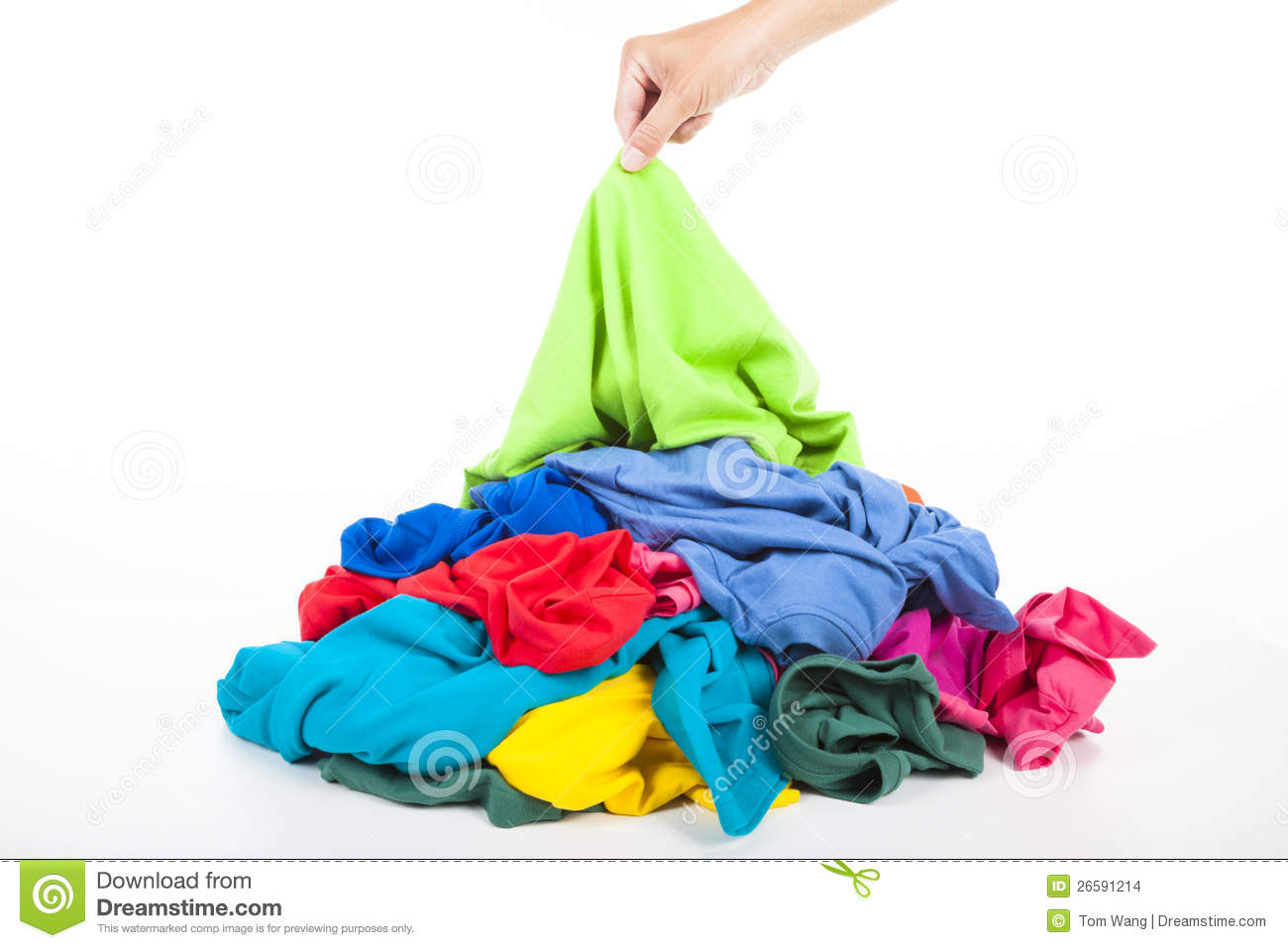 Hand Pick Up Shirt In Pile Of Clothes Stock Images   Image  26591214