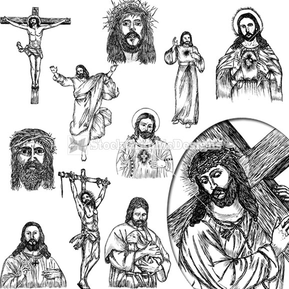 Jesus Christ Hand Drawn Vector Clip Art Images   Stockgraphicdesigns