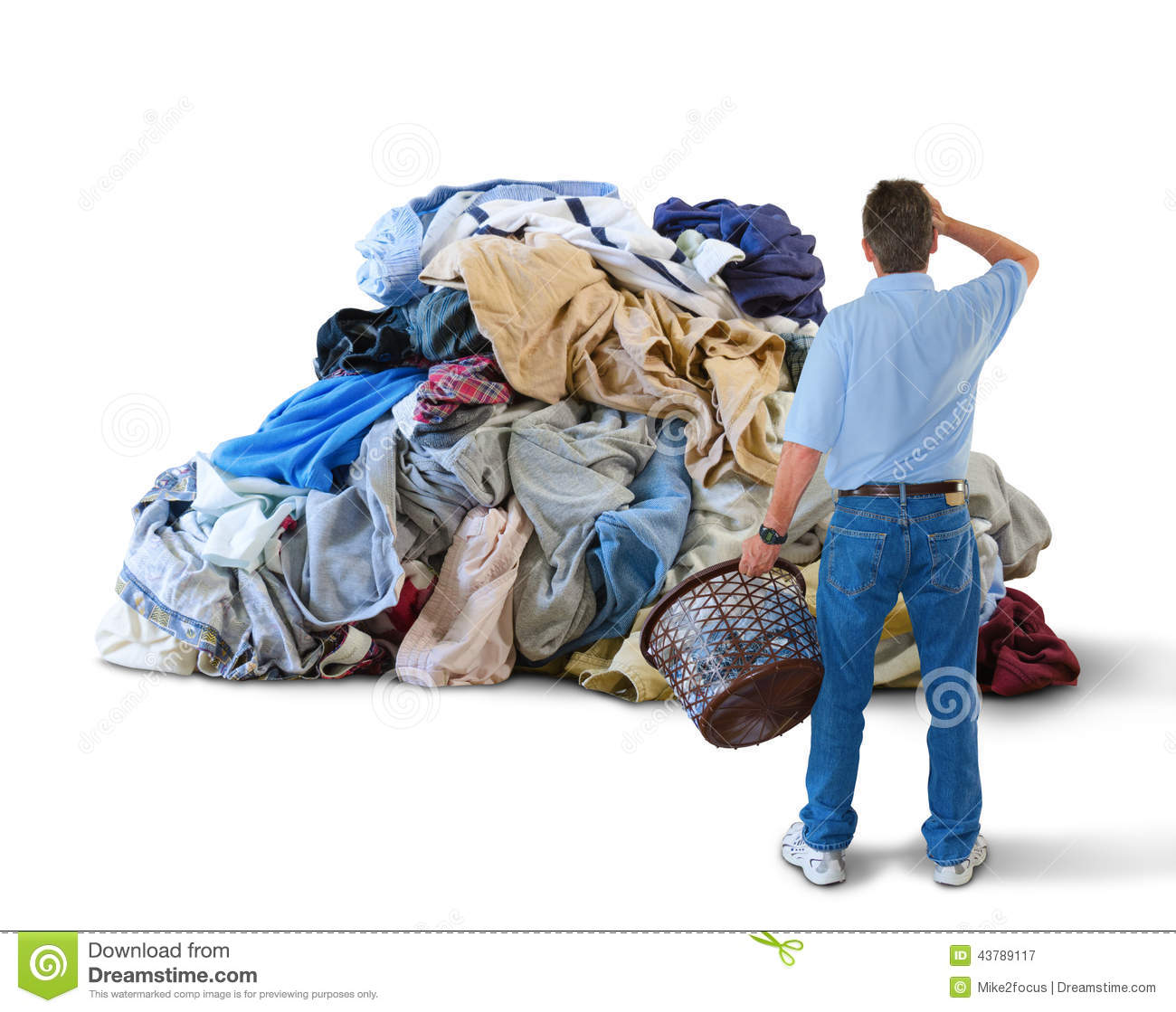 Laundry Basket   Huge Pile Of Clothes Stock Photo   Image  43789117