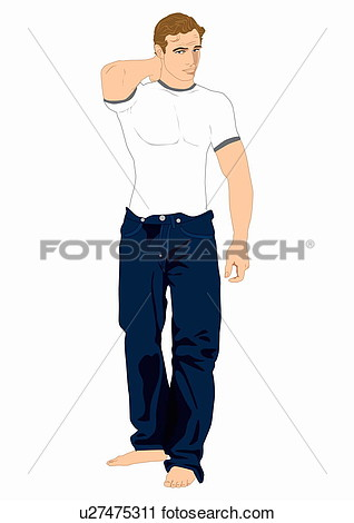 Muscular Man In Jeans And T Shirt Posing With Arm Behind His Head View