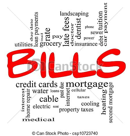 Paying Bills Clipart Bills Word Cloud Concept In