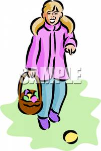 Pretty Young Girl Wearing A Pink Coat Happily Hunting For Easter