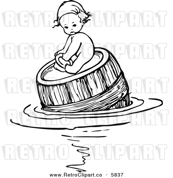 Retro Black And White Baby Floating And Fishing In A Barrel By Prawny