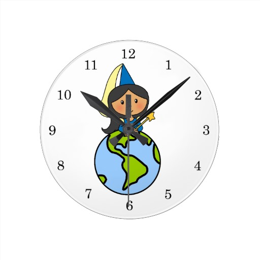 Cartoon Clip Art Cute Princess On Top Of The World Round Wall Clocks