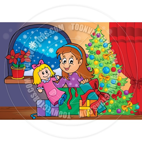 Cartoon Girl Unpacking Christmas Gifts Theme By Clairev
