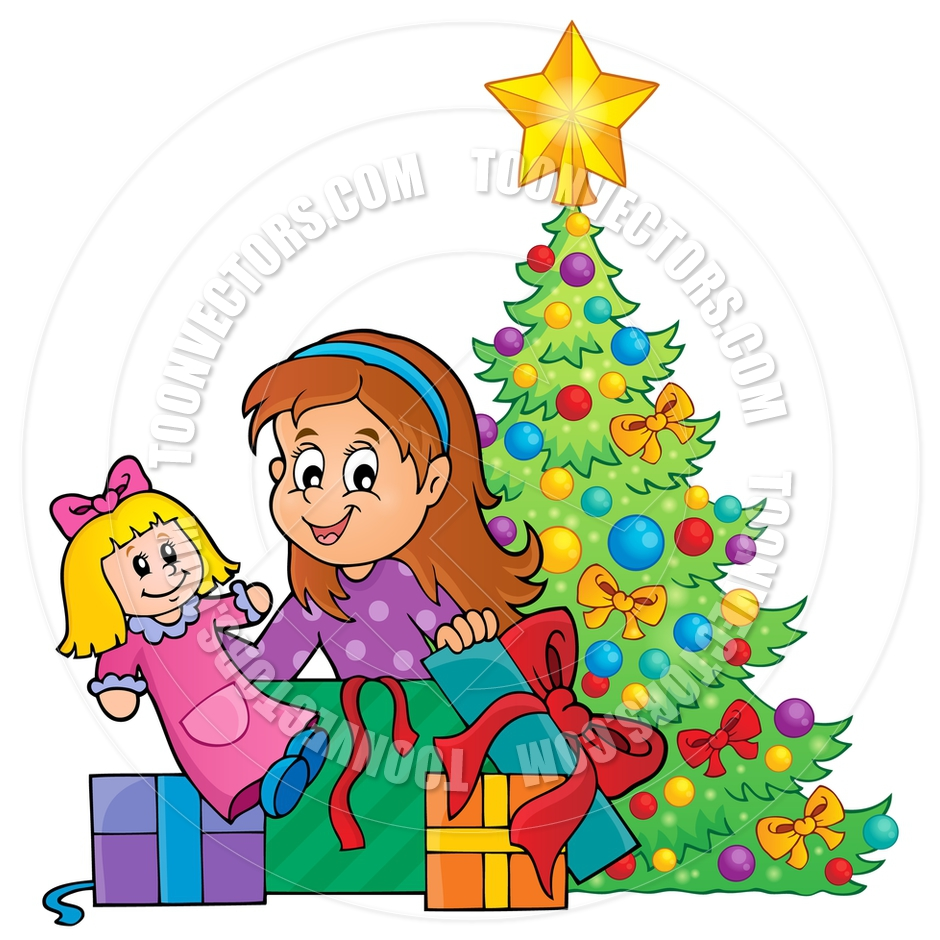 Cartoon Girl Unpacking Christmas Gifts Theme By Clairev   Toon Vectors