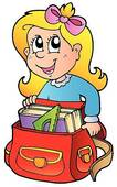 Cartoon Girl With School Bag   Clipart Graphic